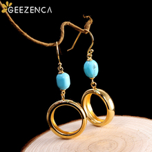 925 Sterling Silver Gold-plated Turquoise Round Circle Drop Earrings Fine Jewelry for Women Simple Trendy Geometric Earring Cute chic openwork circle turquoise bracelet for women