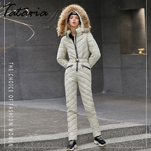 High Quality Women Winter Warm Long Coat Female Hooded One Piece Jumpsuit Outwear Women's Ski Suits Women Down Cotton Tracksuits(China)