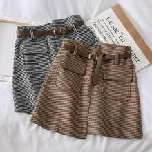 Mooirue Autumn Winter Women Plaid Mini Skirts Vintage Streetwear With Sashes Pockets Irregular Korean Style Bottoms Short Skirt