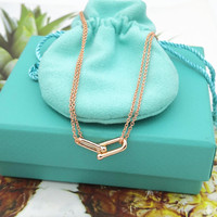 Ms 100% pure silver European and American classic brand golden rose gold U letter heart shaped necklace pendant festival gifts