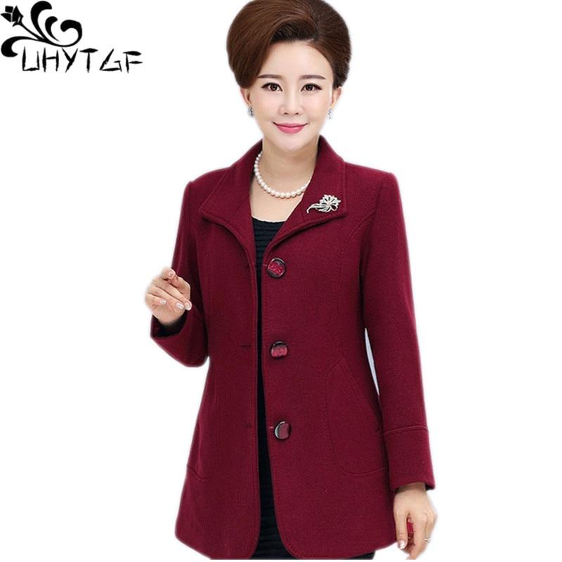 UHYTGF Women's Autumn Winter Woolen Coat Single Breasted Slim Ladies Outerwear Long Sleeved Loose large Size Jacket Female 676