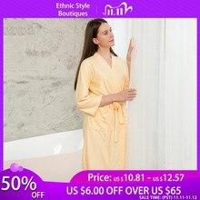 Plus Size Nữ Kimono Áo Choàng Tắm Dài Đồ Ngủ Bánh Cô Dâu Phù Dâu Cưới Áo Dây Váy Ngủ Gợi Cảm Nữ Chắc Chắn Váy Ngủ