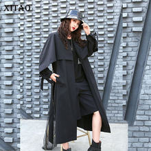 XITAO French Style Cloak Style Windbreaker A Buckle Long Coat Women Loose Fashion V Neck Bandage Trench Coat Streetwear GCC3400(China)