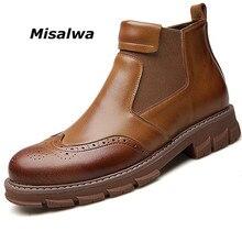 Misalwa Retro Bé Trai Giày Năm Mới 2019 Ngắn Áo Cưới Người Brogue Giày Chia Da Cổ Điển Màu Đen Giày Tuyết Mùa Đông đế Bằng