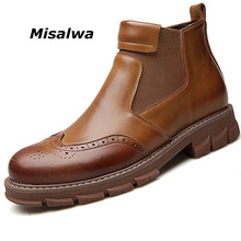 Misalwa Retro Boys Boots New Year 2019 Short Wedding Dress Man Brogue Shoes Split Leather Classic Black Boots Winter Snow Flats