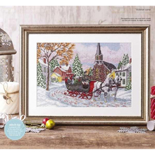 Top Quality Lovely Cute Counted Cross Stitch Kit Winter Sleigh Ride Victoria Scene Village Street Chirstmas Snow