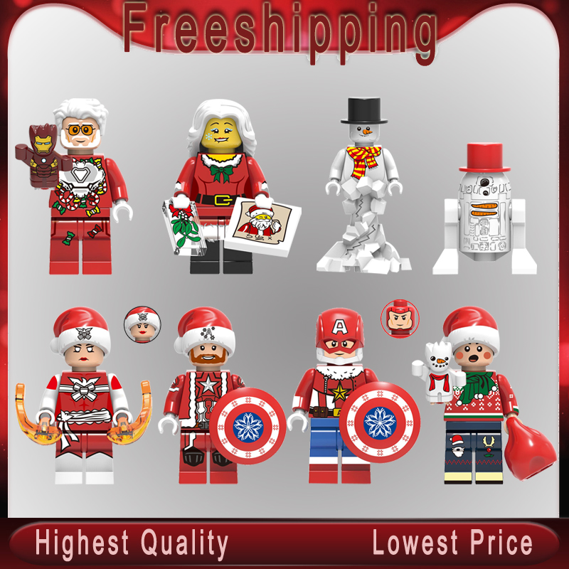 Christmas Legoeinglys MINIFIGURED Santa Claus Reinideer Yeti Woman Kids Phoenix Super Heroes Building Blocks Toys For Children