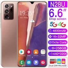 Mais novo n28u smartphone 6.6 Polegada telefone hd 4800mah 8g + 256g duplo cartão de espera dupla impressão digital rosto desbloquear original n28u celular