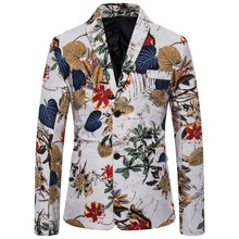 Mens Casual Vintage Turn-down Collar Long Sleeve Print Floral Suit Coat Jacket veste costume homme dropshiping W902