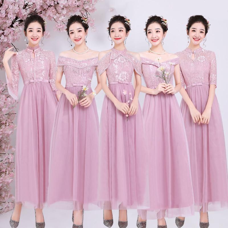 Pink Junior Bridesmaid Dress Plus Size Tulle Long Dress For Wedding Party For Woman Vestido De Festa Longo Sexy Dress Prom Host