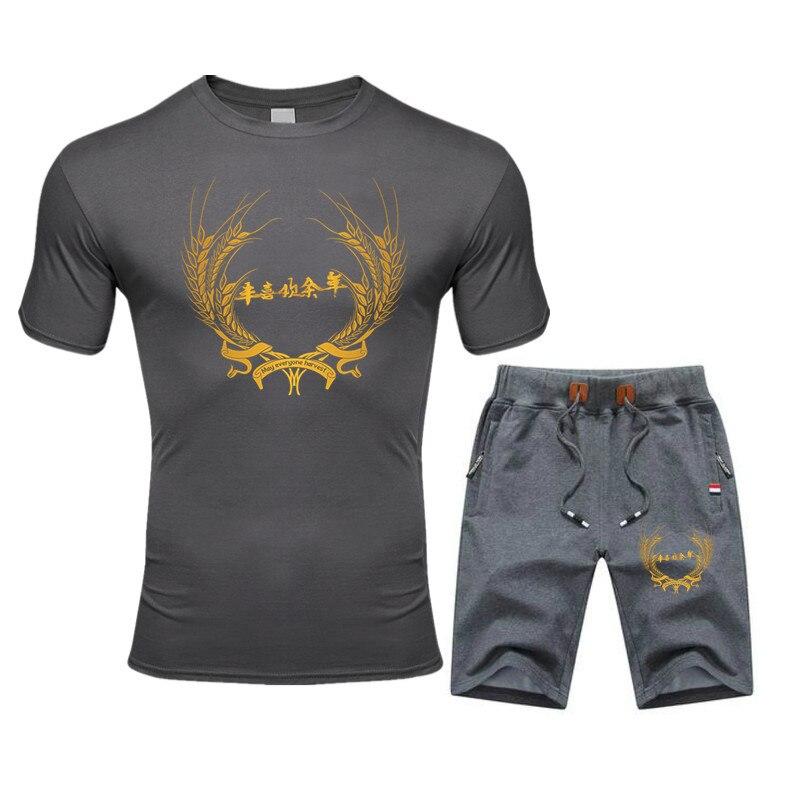 Summer Men's Print Tracksuit Casual Short Sets Men Cotton Sports Suit T-Shirt+Shorts 2 Piece Sets Brand Sportswear Slim Outfits