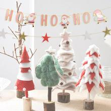 Ho Christmas Banner New Pink Color Holiday Garland Festive Bunting for Xmas Party Fireplace Mantel