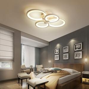 Image 3 - Hot White/Black led chandelier for living room bedroom study room remote controller dimmable modern chandelier ceiling AC90 260V