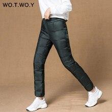 WOTWOY Casaul зимние женские штаны с карманами, большие размеры, базовые прямые женские пуховые штаны с высокой талией, плотные женские брюки