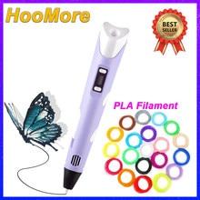 Hoocore 3d caneta pla filamento impressora diy pintura led crianças impressão canetas para designer crianças desenho caneta presentes brinquedos educativos
