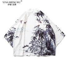 Couple Women Men Harajuku Loose Kimono Haori Japanese Style Thin Bird Crane Print Samurai Casual Summer Coat Jacket Streetwear