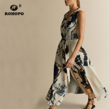 цены ROHOPO Double Layer Vintage Tie Dye Beige Chiffon Midi Dress Sleeveless Buttons Fly Sashes Maxi Vestido #8979