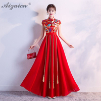 2019 New Satin Dress Cheongsam Red Bride Marry Vintage Gown Qi Pao Women Chinese Wedding Dresses Qipao Promotion Robe Orientale