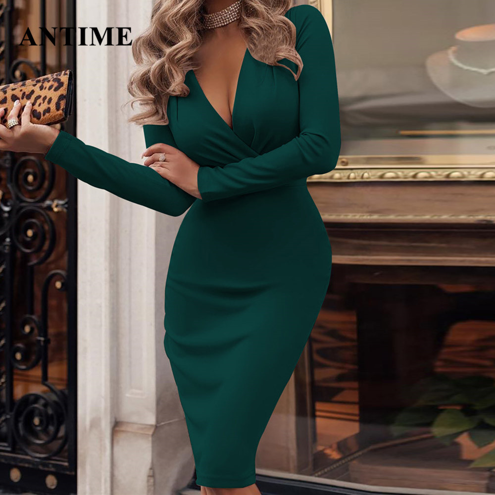ANTIME Sexy Sheath Dress Midi Women Long Sleeve V Neck Cotton Spring Summer Green Dresses Casual Ladies