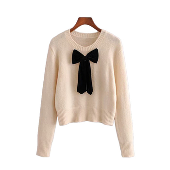 Runway Vintage Sweet Short Style Bow Tie Knitted Sweater Women Fashion O Neck Long Sleeve Stretchy Female Pullovers Chic Tops bow tie neck ruffle sweater