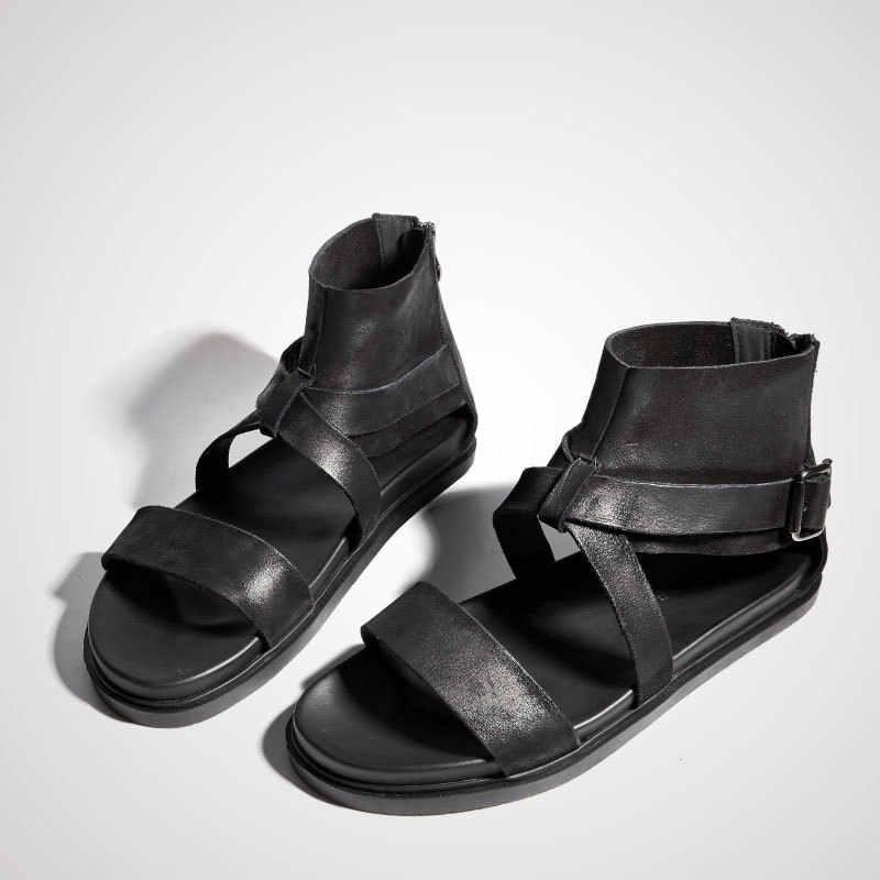 2019 yeni kore tasarımcı yaz gladyatör toka sandalet erkekler yüksek kalite hakiki deri sandalet rahat nefes plaj ayakkabısı