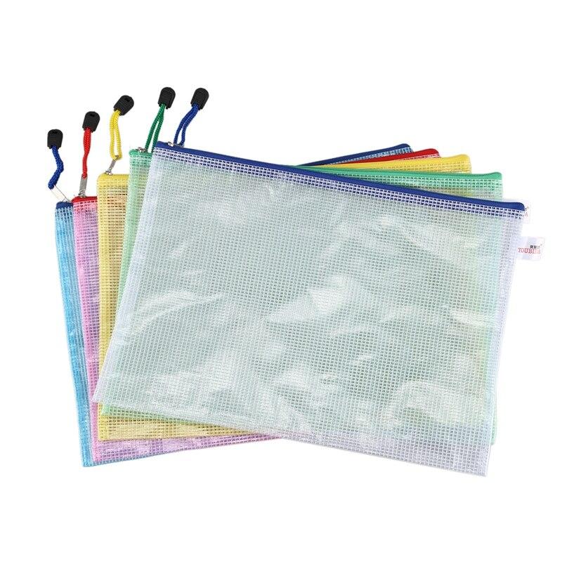 345mm X 242mm Office A4 File Paper Pocket Holder Bag Assorted Color 5 Pcs