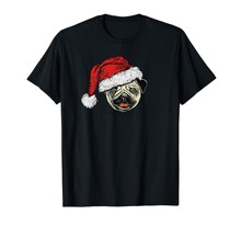 Funny Cute Smiling Pug in Santa Claus Hat Christmas Graphic Premium T-Shirt-Men's T-Shirt-Black(China)