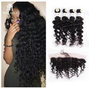 Малаика 4 шт глубокая волна пряди с фронтальной глубокой вьющейся пряди с закрытием человеческие волосы пряди перуанские волосы для наращи...