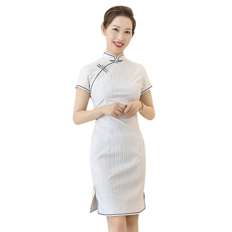 Sang Zi Zhi Hua New Style Plaid White Literature And Art Stripes Slimming Fashion Plus-sized Young Daily Life Chinese Style Cheo