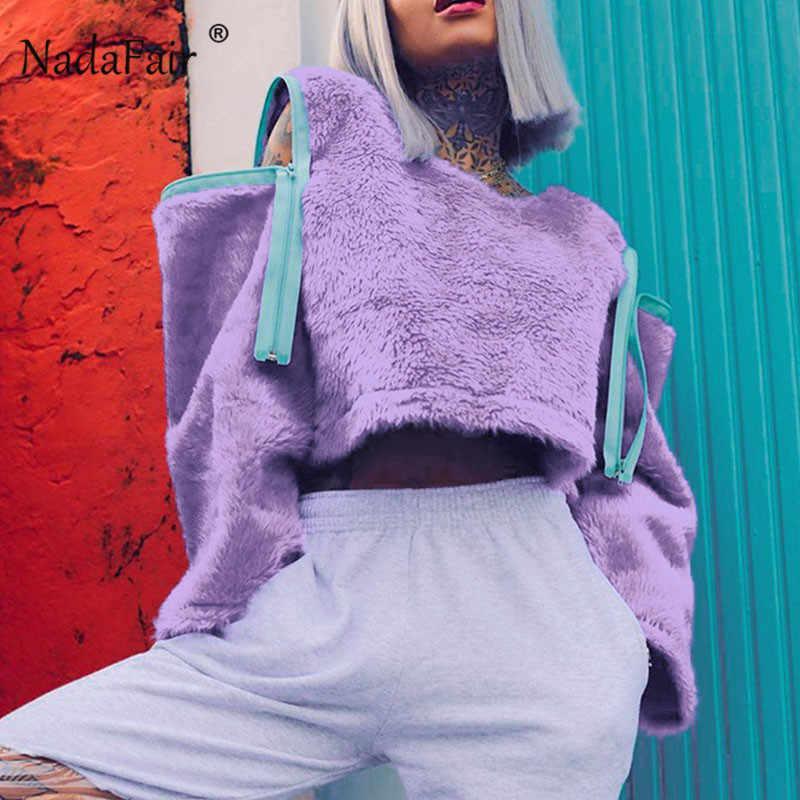Nadafair Punk Zipper przycięte bluza kobiety jesień sweter zimowy krótki pluszowe bluzy z kapturem Faux Fur bluzy