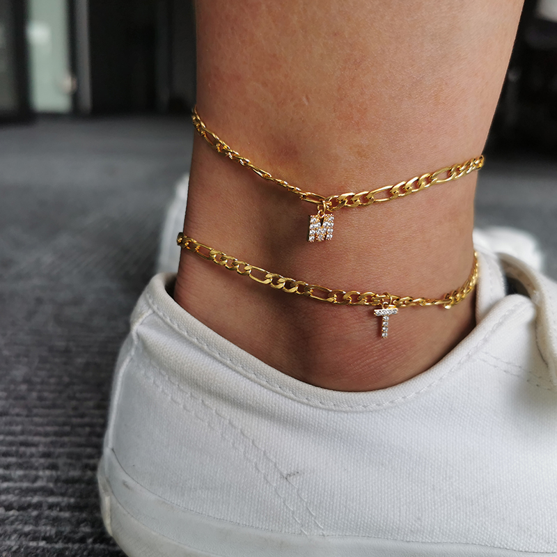 Alphabet Leg Bracelets For Women Foot Gold Chain Jewelry Stainless Steel Feet Chain Friendship Gifts Letter Initial Anklet BFF