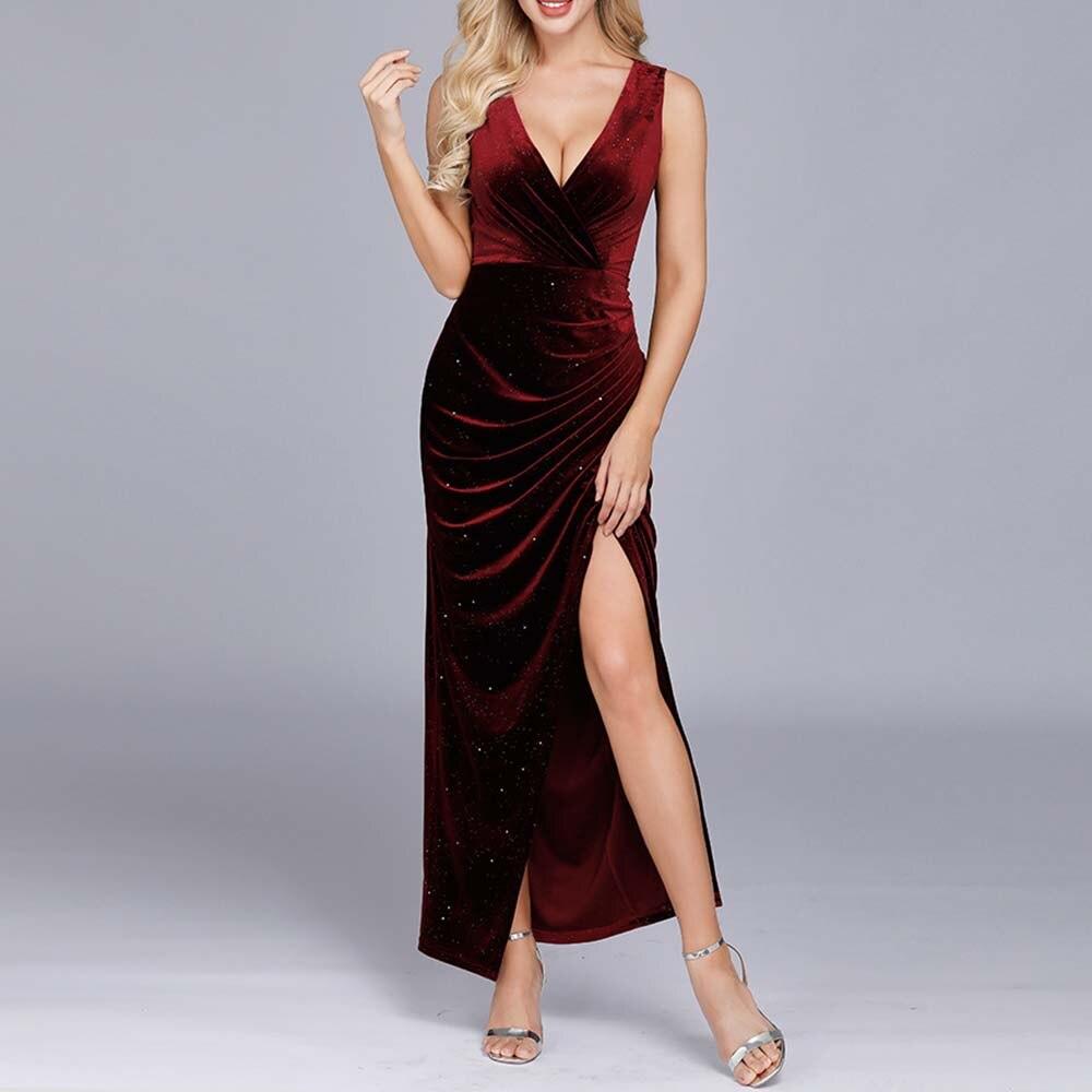burgundy v neck prom dress sheath split front plus size sleeveless elegant floor length evening party gown prom dresses