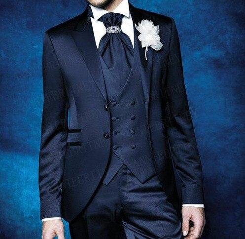 ANNIEBRITNEY Fashion Shiny Mens Suits With Pants Set Wedding Prom Formal Groom Tuxedo Custom Navy Blue Slim Fit Blazer Vest Pant