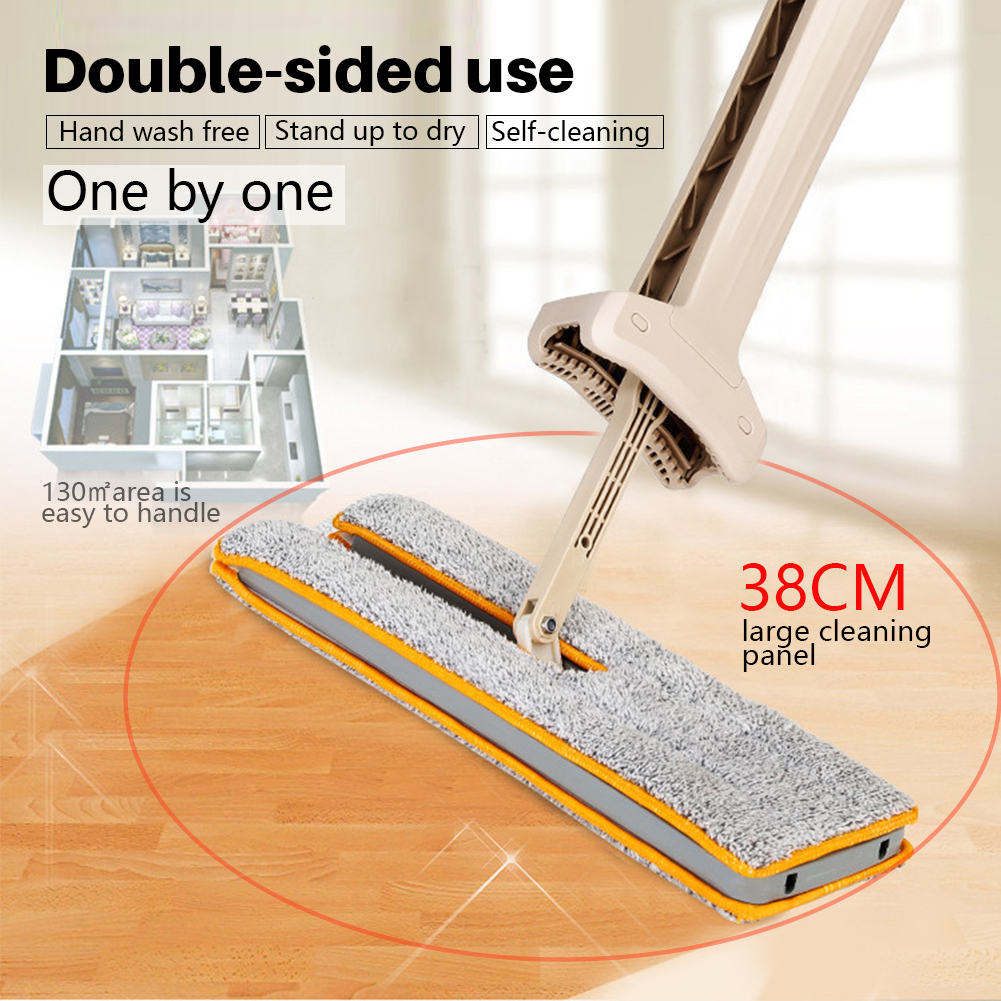 Self-Wringing Double Sided Flat Mop Telescopic Comfortable Handle Mop Household Floor Cleaning Tools For Living Room Kitchen