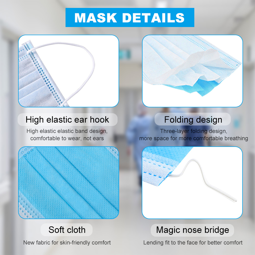 Masque médical jetable à 3 couches, cache-bouche chirurgical Non tissé, doux et respirant avec tissu soufflé à l'état fondu 5