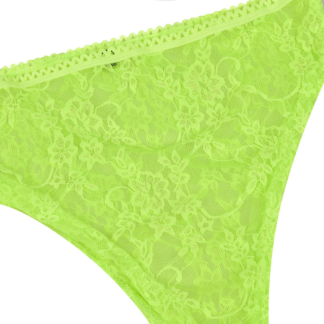 Fluorescent Green Mesh Lace Bra And Panty Set Women V-Neck Sexy Transparent Skinny Lace Intimates Lingerie Set  Brief Set  D35 4