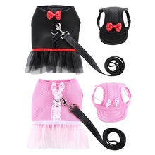 Breathable Small Cat Dog Harness Vest Pet Outdoor Set Reflective Leash Hat And For Chest Strap