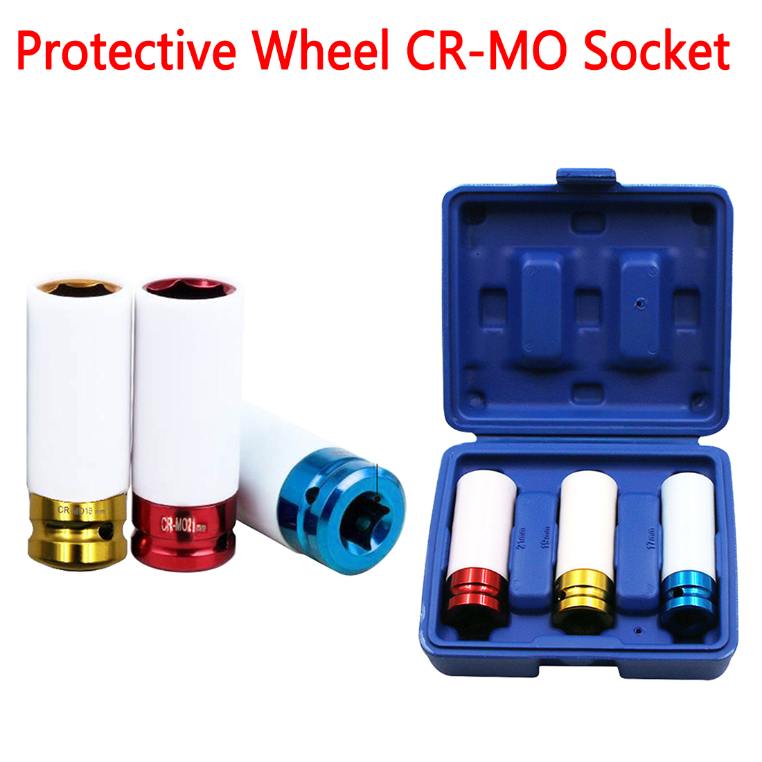 3pcs 17/19/21mm Pneumatic Tyre Protection Sleeve Colorful Steam Sleeve Auto Repair Hardware Tool + Case