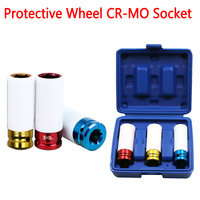 3pcs 17/19/21mm Pneumatic Tyre Protection Sleeve Colorful Steam Sleeve Auto Repair Hardware Tool + Case|Wrench| |  -