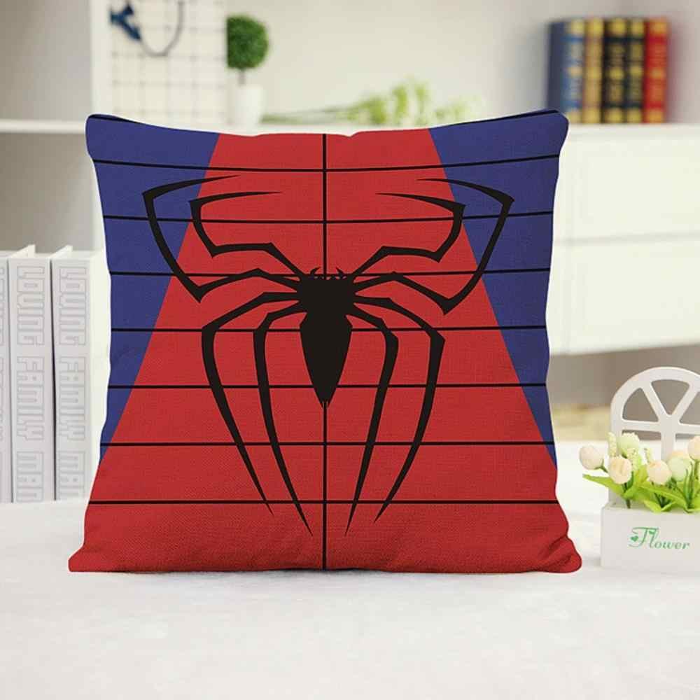 Superhero Logo Superman Deadpool Batman Spiderman Pillow  Linen Cushion Cover