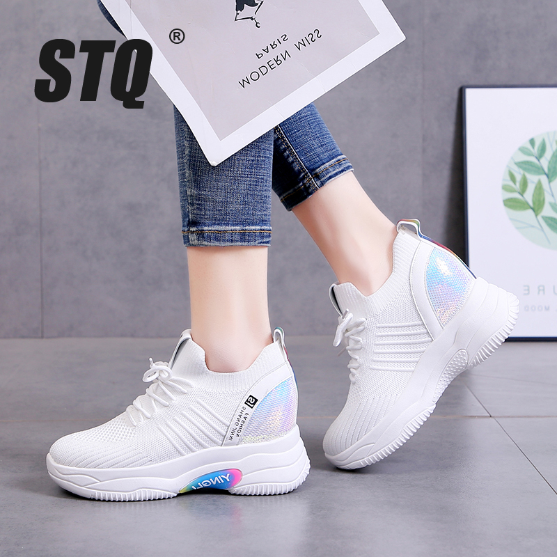 STQ Women 7cm Incremental Shoes Platform Mesh Breathable Chunky Sneakers Ladies Lace Up White Sneaker Trainers Womens Y130