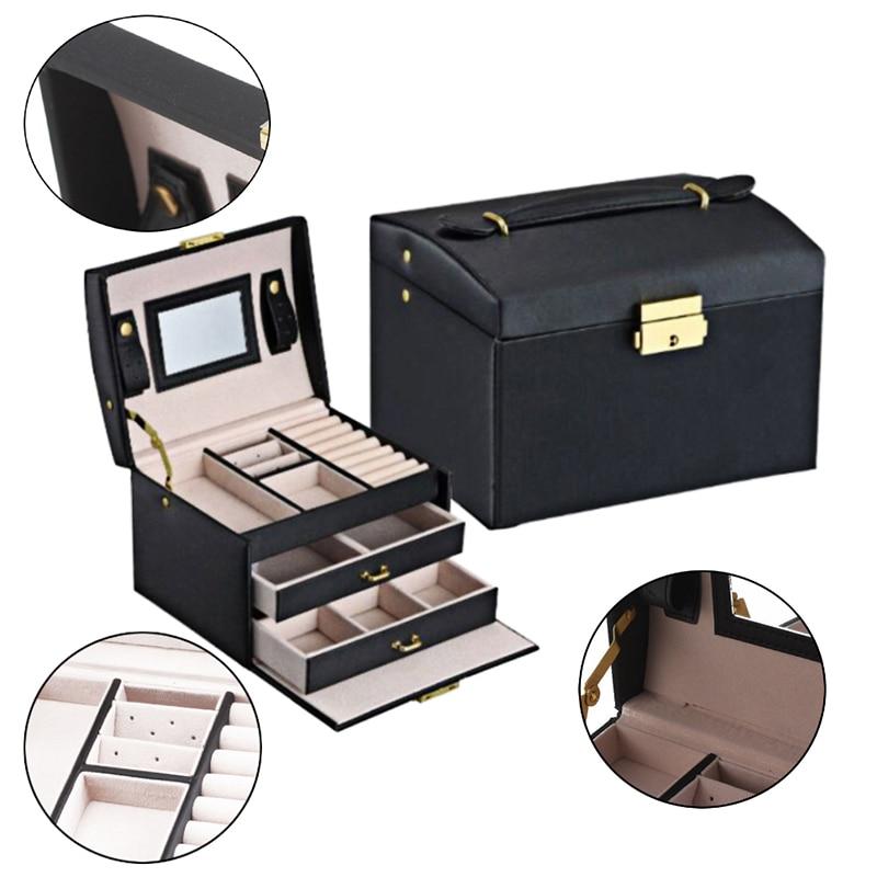 New Jewelry Box Large Capacity Leather Storage Jewelry Case Earring Ring Necklace with Mirror Watch Jewelry Organizer Jewel Boxs