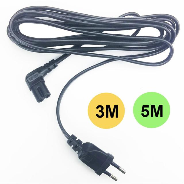 3M 5M Abgewinkelt EU power kabel 2 Prong Pin Netzteil Schnur AC stecker zu abgewinkelt figur 8 C7 stecker 10ft 15ft für PS4,TV,DVD etc.