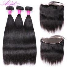 Прямые пряди волос Abijale с передней частью, бразильские пучки волос с застежкой, пряди человеческих волос с застежкой, Реми