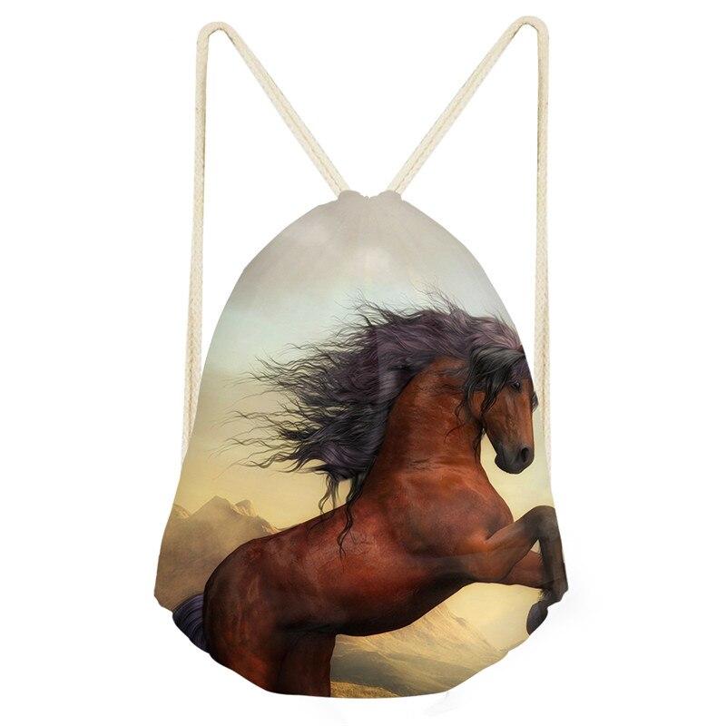 New Arival Animal Crazy Horse Printing Drawstring Bags Women Fashion Style Beach Shoulder Bag Ladies Men Drawstring Bagpack 2019
