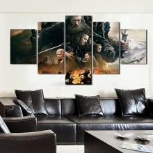 Hot Selling 5 Pieces Home Decor Print oil painting Wall Art Decorations Canvas, Movie The Hobbit Battle Of Five Armies