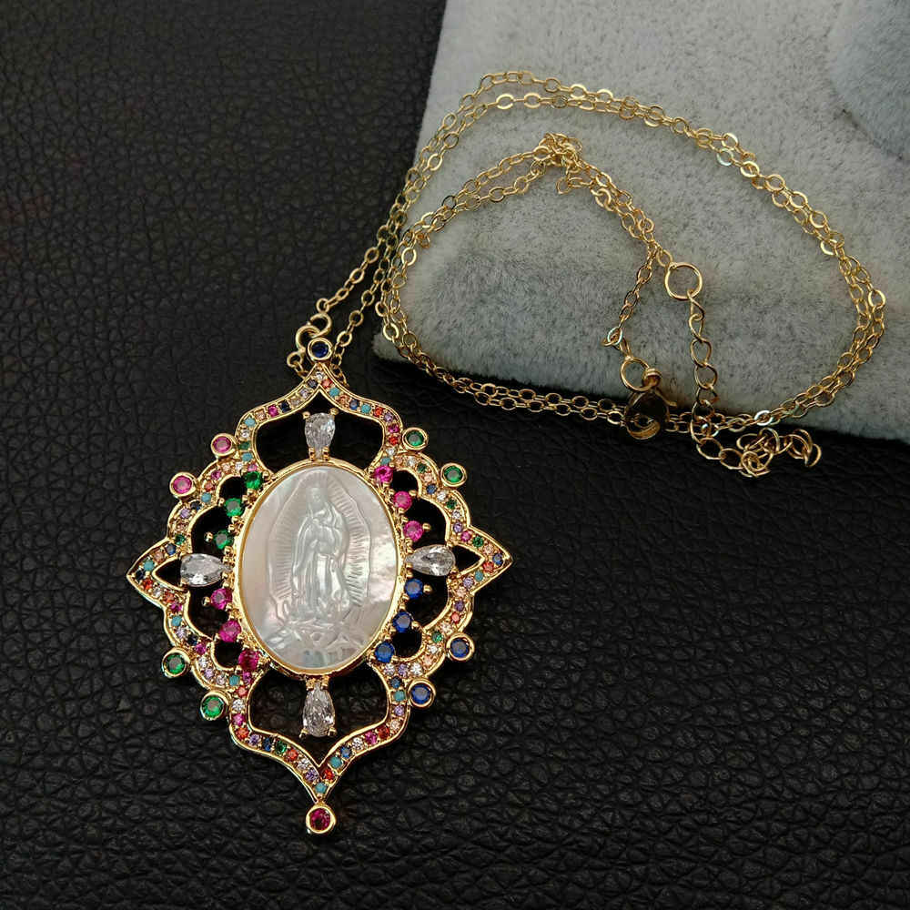 white shell cameo Virgin Mary Clear CZ Micro Pave flower Pendant chain necklace