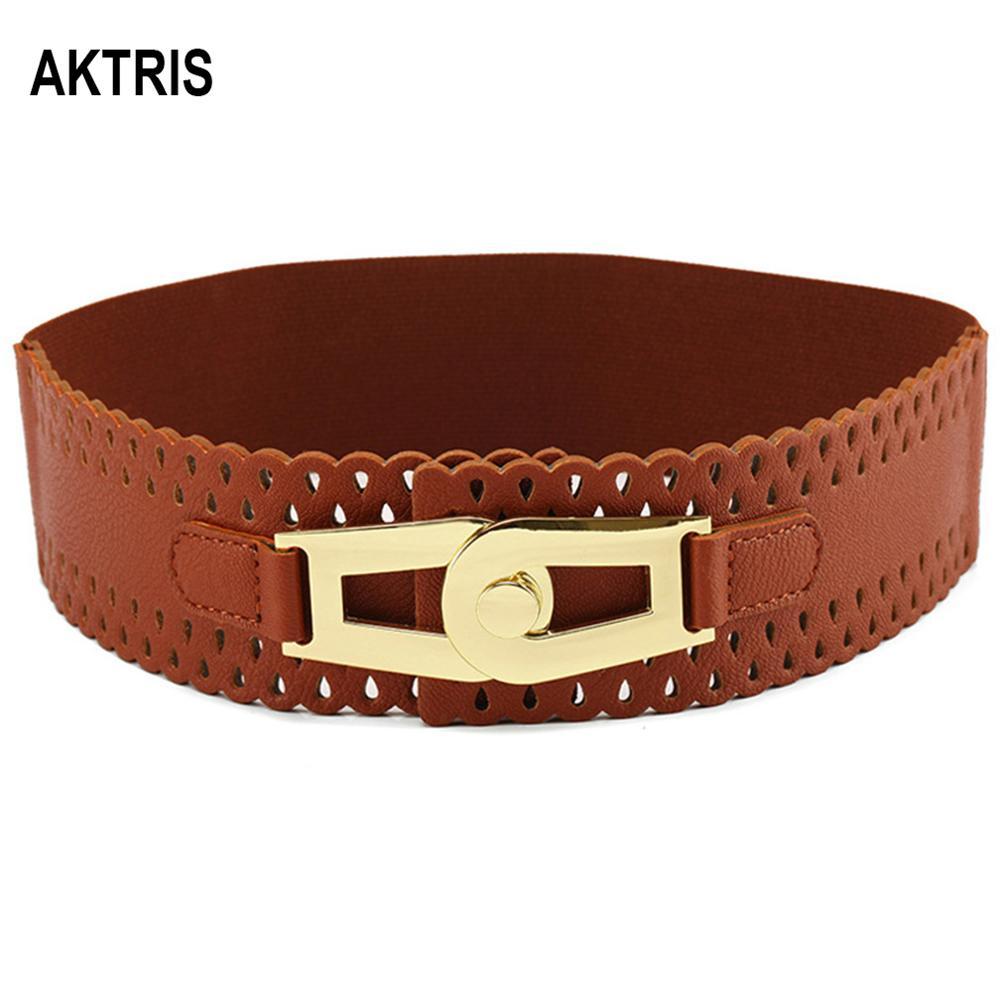 AKTRIS Ladies Decorative Wide PU Leather Belt Elastic Waistband Waistline Patent Leather Down Jackets Waistband Women FCO129
