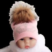 diamond embroidery baby knitted Warm Winter Wool  hat cap girl boy kids faux fur pompom children crown beanies casual skullies