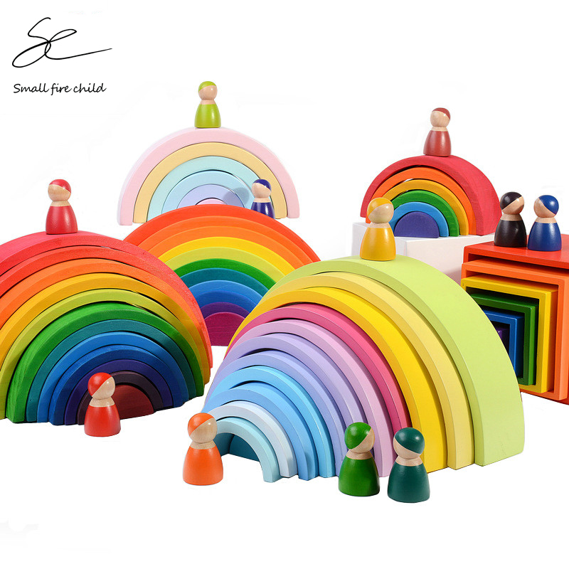 New Baby Toys Large Rainbow Stacker Wooden Toys For Kids Creative Rainbow Building Blocks Montessori Educational Toy Children